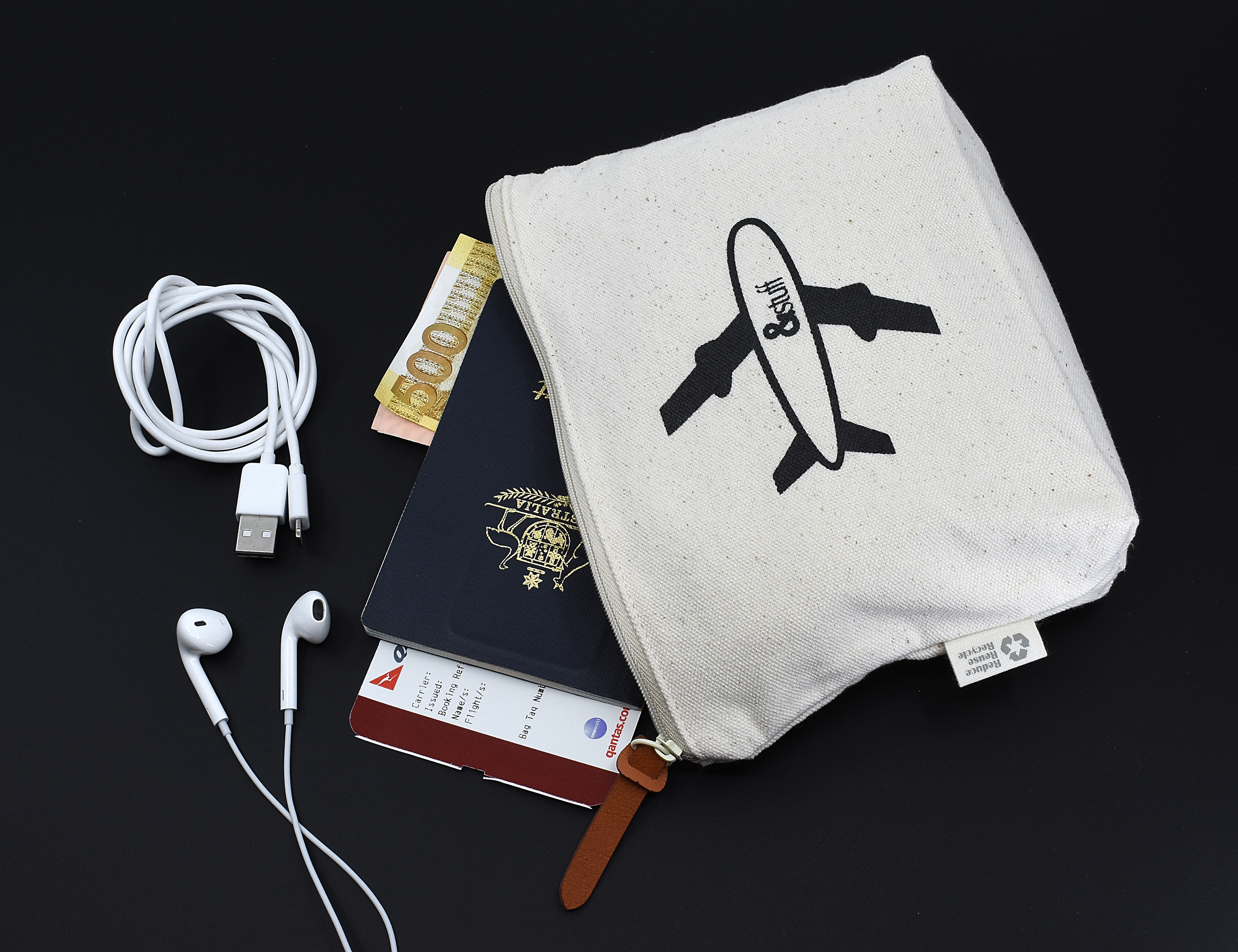 Calico Travel Pouch 14.5cm x22.5cm x5cm